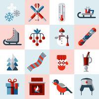 Set di icone di inverno vettore
