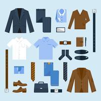 Icone dei vestiti dell'uomo d'affari messe