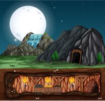 Una notte alla miniera di pietre vettore