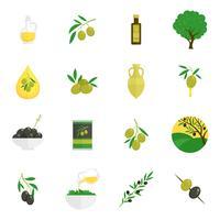 Icone di olive piatte