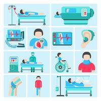 Icone di attrezzature mediche di supporto di vita