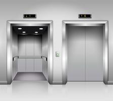 Realistiche porte dell'ascensore per uffici in metallo cromato, aperte e chiuse.