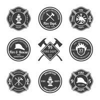 Emblemi dei vigili del fuoco neri vettore