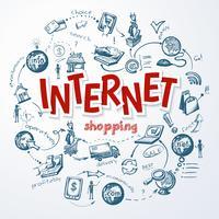 Concetto di schizzo di acquisto di Internet vettore
