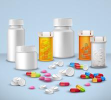 Set di bottiglie pillola vettore