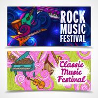 Banner musicali orizzontali vettore
