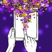 Concetto di comunicazione con Tablet