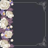 Modello di carta Flora con rose bianche e cornice calligrafica quadrata. vettore