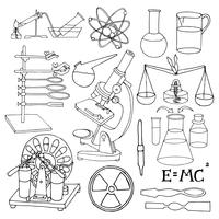 Icone di schizzo di scienza vettore