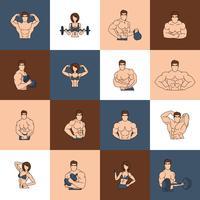 Linea piatta delle icone della palestra di forma fisica di culturismo