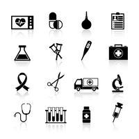 Icona nera dell'attrezzatura medica