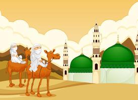 Arabo che guida il cammello alla moschea