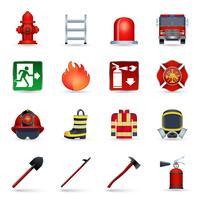 Set di icone di vigile del fuoco vettore