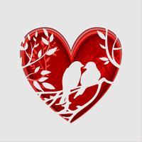 Arte di carta degli uccelli su un ramo di un albero a forma di cuore, concetto di origami. San Valentino.