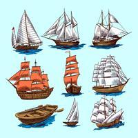 Set di schizzo di navi e barche vettore