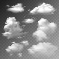 Set di nuvole trasparenti vettore