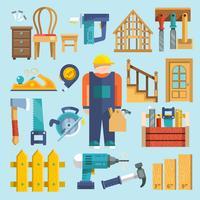 Icona di carpenteria piatta vettore