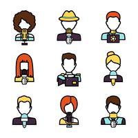Set di avatar giornalista vettore