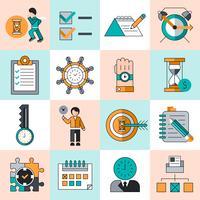 Linea piatta icone di gestione del tempo vettore