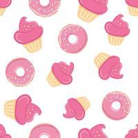 Modello senza cuciture con dolci rosa vettore