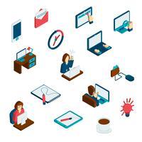 Set di icone isometriche freelance