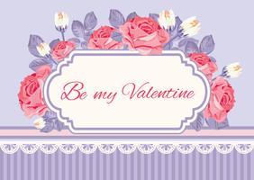 Sfondo shabby chic, rose con testo di esempio Be my Valentine in cornice vintage. Modello di carta floreale. Vector illustartion