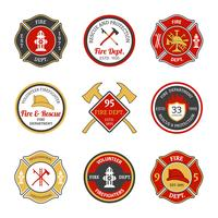 Emblemi dei vigili del fuoco vettore