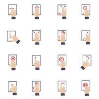 Icone piane dello schermo commovente della mano