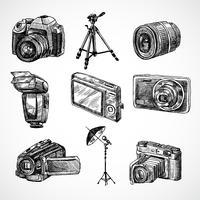 Set di icone di schizzo della fotocamera vettore