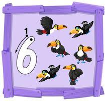 Numero sei sul banner in legno