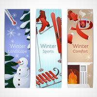 Set di banner invernali vettore