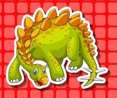 Dinosauro verde su sfondo rosso