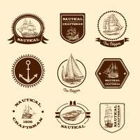 Schizzo emblemi nautici vettore