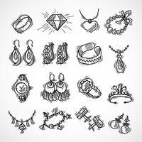 Set di icone di gioielli vettore