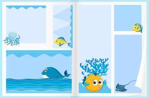 Disegno di carta con animali marini
