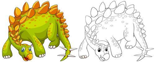 Doodle contorno animale di dinosauro vettore