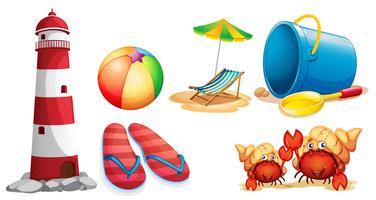 Faro e diversi tipi di articoli da spiaggia vettore