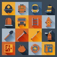 Icone di vigile del fuoco piatte vettore
