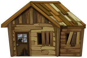 Casa in legno con finestre rotte