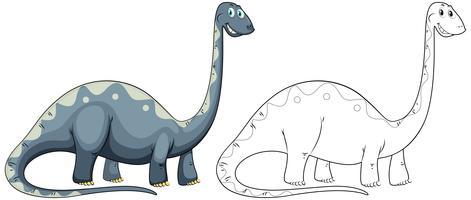 Profilo animale doodle per dinosauro collo lungo vettore