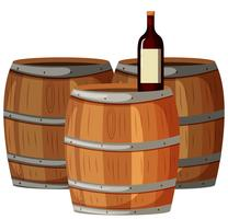 Bottiglia di vino su botti di legno