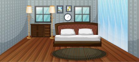 Scena della camera da letto con letto in legno