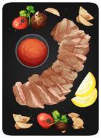 Bistecca e salsa a tavola