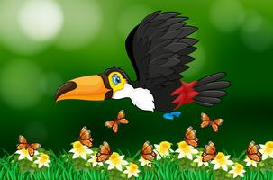 Volo dell'uccello del tucano nel giardino vettore