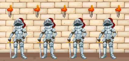 Quattro cavalieri in piedi al muro del castello vettore
