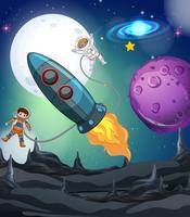 Astronauta e astronave nella galassia vettore