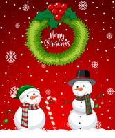 Carta rossa del pupazzo di neve di Buon Natale vettore