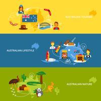 Set di banner piatto Australia vettore