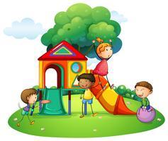 Molti bambini che giocano sulla diapositiva vettore