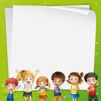 Modello di carta con molti bambini vettore